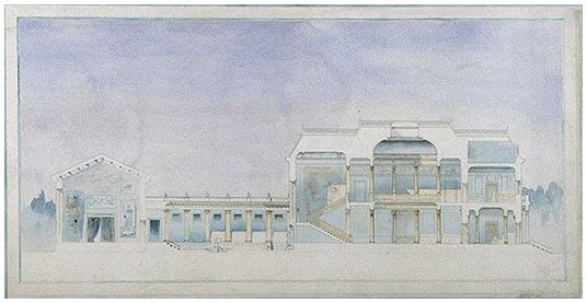 Mahoney's watercolor rendering of an artist's studio.
