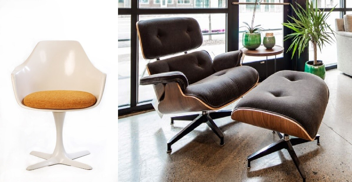 The key chairs of this era are the Tulip Chair and The Eames Chair.