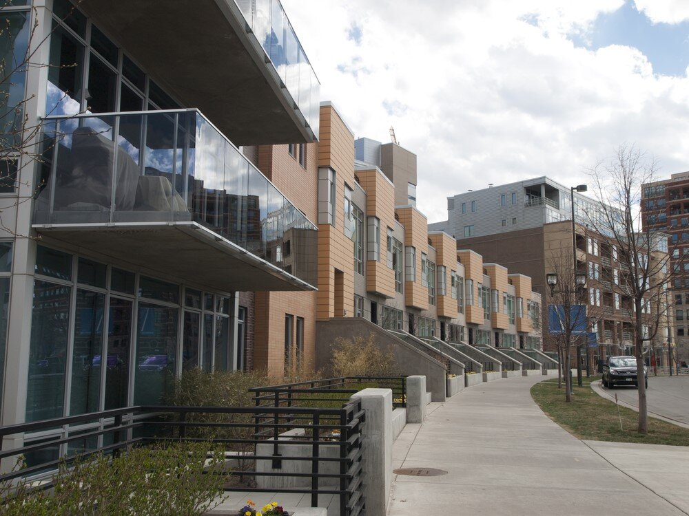 Denver apartment complex with Mid Century Modern principles of heavy glass use, organic lines and repetition.